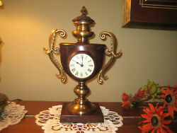 DESK MANTLE CLOCK Solid Brass Bronze ORNATE India 15 Tall QUARTZ Marble Finish