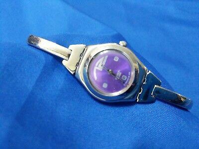 Bangle Swatch Irony purple face watch new battery good cond
