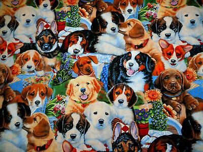 Cotton Fabric By Yard Garden Puppies Puppy Dog Breeds Flowers David Textiles -