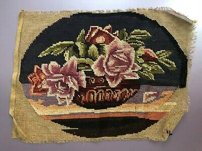 TAPESTRY Handmade 1920/'s VINTAGE ANTIQUE Square Needlepoint Long stitch Gothic Chair seat Cushion