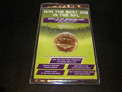 Nfl Super Bowl Xliii 2009 Monster Com Promotional Promo Coin Toss Coin Sealed