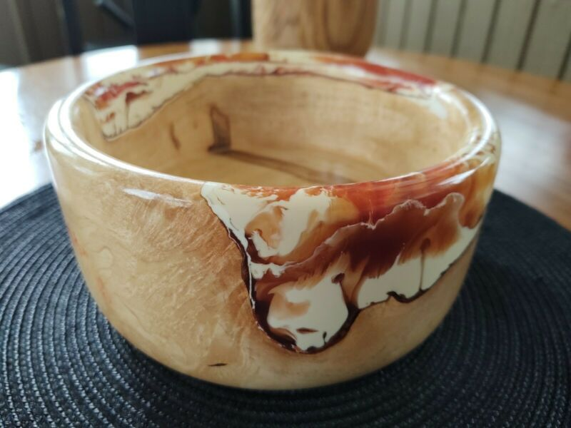 Maple Burl Bowl/ Opaque White/ Translucent Red Resin/ Hand Turned on Lathe/2020