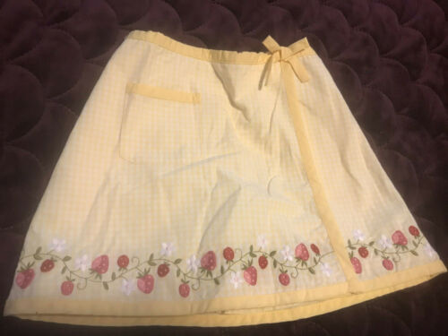 NWOT GYMBOREE 5 strawberry Patch gingham apron wrap skirt Easter PAssover RARE
