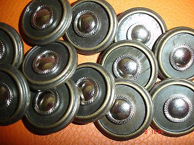 10 Knöpfe altmessing mit silbrigem Metalleinleger 22mm Annähöse W102.1