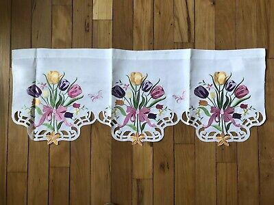 Spring Bouquet Window Windows (Springtime Tulip Embroidered Cutout Valance Blooms Flower Bouquet Window)