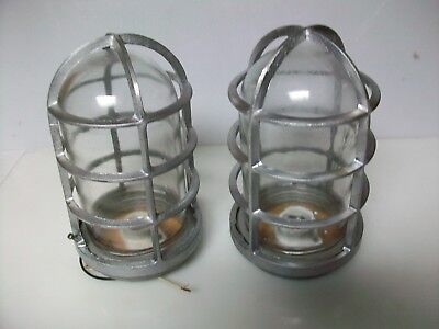 Two Nos Spero Vintage Explosion Proof Caged Light Fixtures With Glass