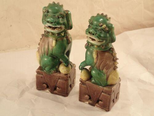 Vintage Pair of Chinese Ceramic Dragon Foo Dog Statues