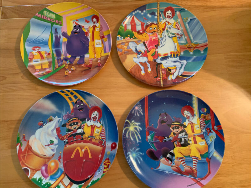 1993 McDonalds Plastic Melamine - Carnival Theme Plates - Set of 4