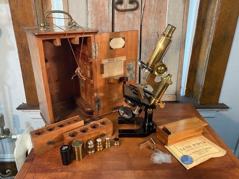 Antique E Leitz Wetzlar Brass Microscope No 28763 New York 1894