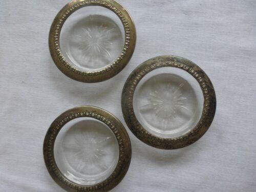 Vtg Antique Sterling Silver Rim  Pressed Glass Bottom Coasters  Set of Three