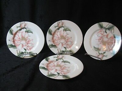 "FOUR FITZ & FLOYD ""SUMMER ROSES"" SALAD PLATES Peach Rose"