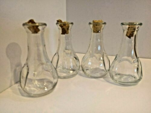 5 Vintage Glass Bottles Small Medicine Perfume Clear Cork lot altered art supply