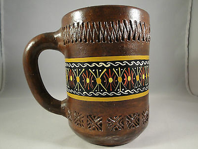Vintage Peru Art Pottery Hand Painted and Carved Large Clay Cup Brown Mug