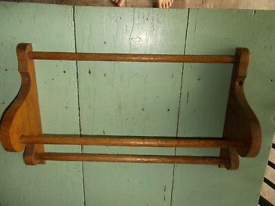 Antique Oak Wall Towel Quilt Linen Rack 3 Bar Holder Bathroom, used for sale  Lewistown