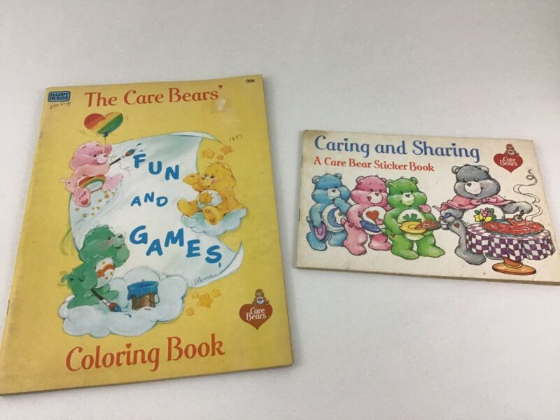 Care Bears Sticker Book Coloring Book 2pc American Greetings Corp Vintage 1984