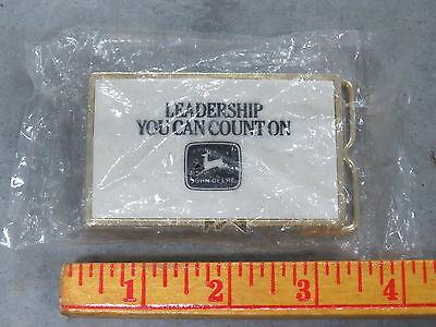 Vintage John Deere Leadership You Can Count On Ceramic Tile BELT BUCKLE NOS LOGO
