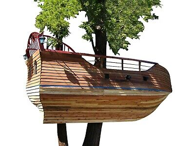 Kids Wooden Tree House Plans DIY Ship Themed Play Fort Kids Playhouse Playground