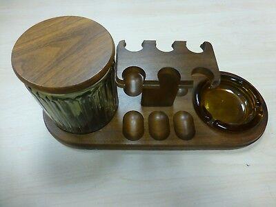 DECATUR PIPE RACK WITH TOBACCO JAR AND ASHTRAY