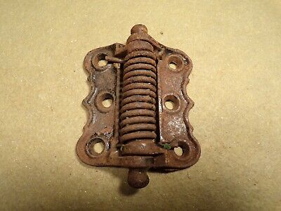 1 Antique Cast Iron Victorian Spring Loaded Screened Door Hinge