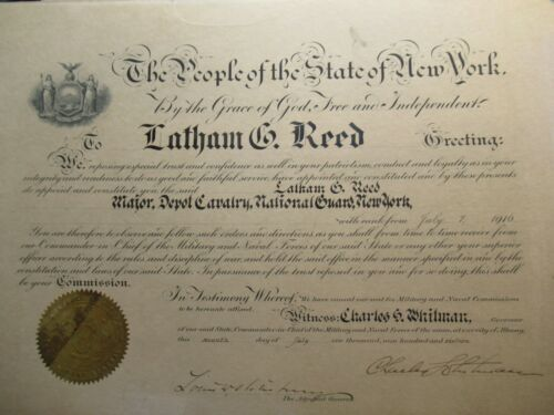 1916 National Guard Latham Reed Certificate, Autograph Charles Whitman Governor