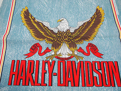 "Harley Davidson Blue Bandana with Bald Eagle MADE IN USA 22"" x 22"" New old stock"