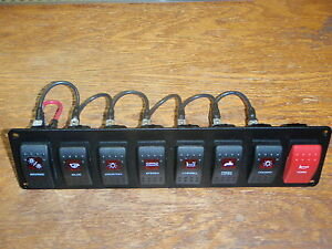 SWITCH PANEL MARINE BOAT CARLING V1D1 8 SWITCHES WIRED PSC-81-BK ELECTRIC RED