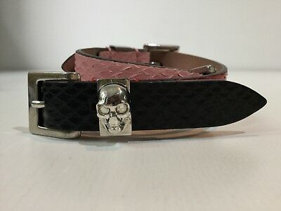 Alexander McQueen Python Leather Wrap Bracelet Skull Buckle Charm pink red black