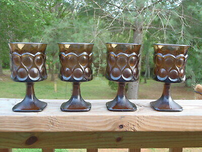 Vintage SET of 4 Noritake SPOTLIGHT Walnut Brown Glass 9 Oz WATER GOBLET GLASSES