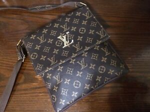 Brown leather monogram Louis Vuitton Side Bag