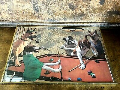 Vintage Mid Century Dogs Playing Pool Mirror Wall Art Print  Man Cave Billiards