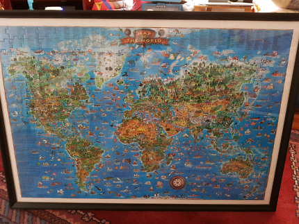Framed world map decorative accessories gumtree australia framed world map from puzzle pieces gumiabroncs Choice Image