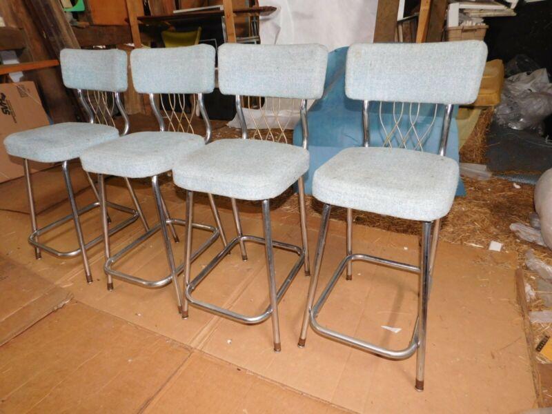 4 mid century modern chrome bar stools barstools chairs Draper era Hollywood mod