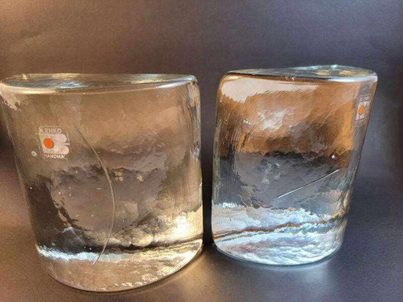 "Vintage Blenko Art Glass Half Moon Clear Bookends Mid Century Modern 5"" Tall"