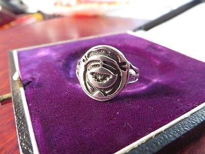 Großer 925 Silber Ring Ethno Indianer Goa Hippie Psy Gesicht Platte Rund Retro