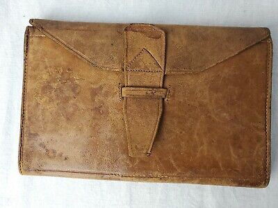 Antique 19th Century Swedish Leather Billfold Wallet 1889 Immigrant
