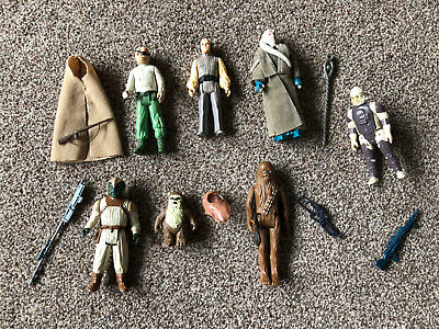 BUNDLE JOB LOT X 7 VINTAGE STAR WARS FIGURES With Genuine Accessories & Weapons