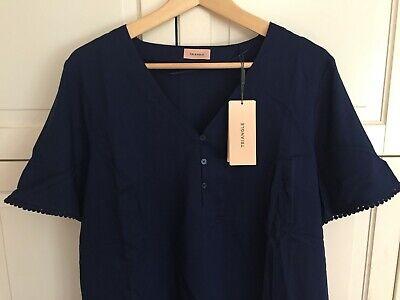 TRIANGLE by S.OLIVER Schöne leichte kurzarm BLUSE Gr.48 blau T-Shirt NEU NP 50 €