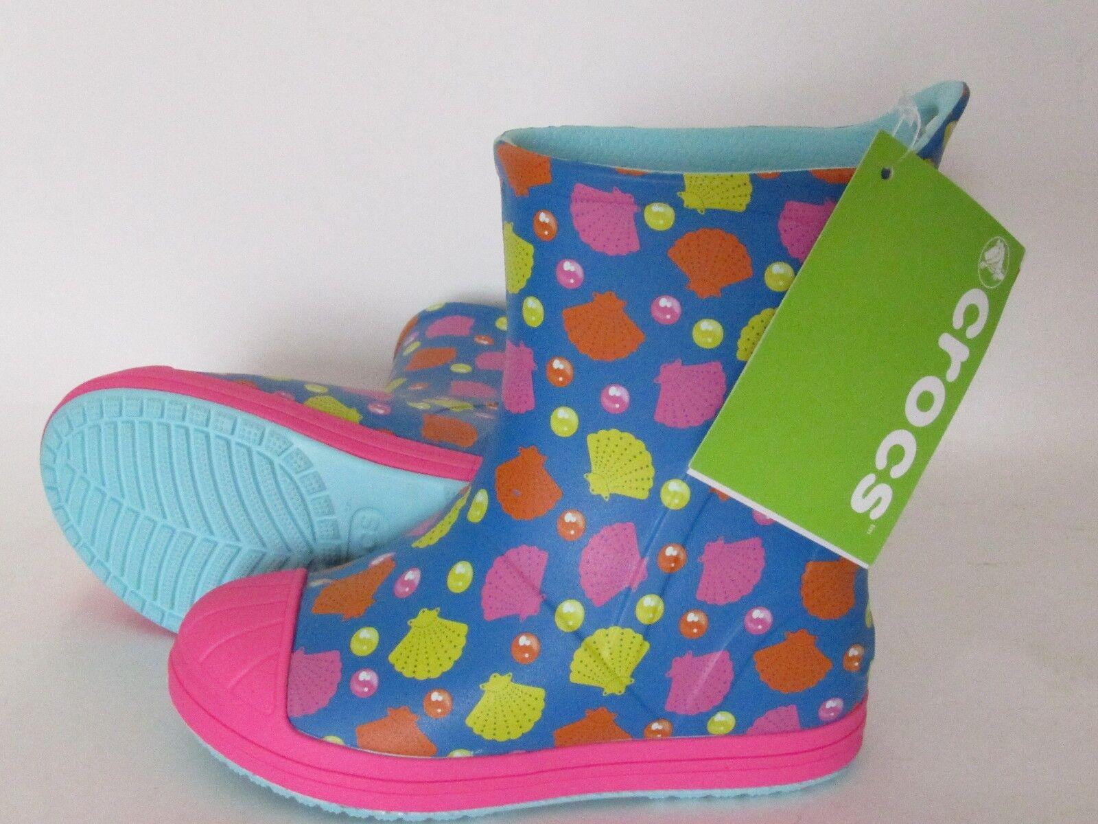 Crocs Bump It Shells Printed Rain Boots Toddler Girls size 6, 8