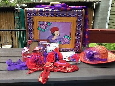 RED HAT SOCIETY LOT PERSONALIZED SAMSONITE SUITCASE CDs BOOK TRINKET SCARF HAT +