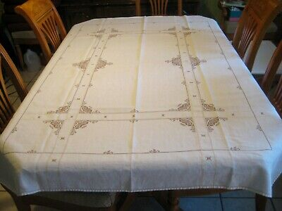 Antique ITALIAN Creamy LINEN Hand Embroidered Tablecloth Drawnwork cross stitch