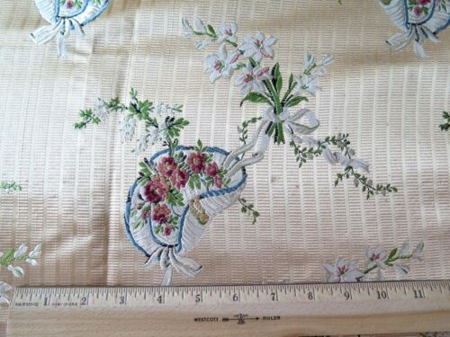 Antique French 19thC Silk Brocade Sample Fabric~Florals, Ribbon & Baskets~27X21