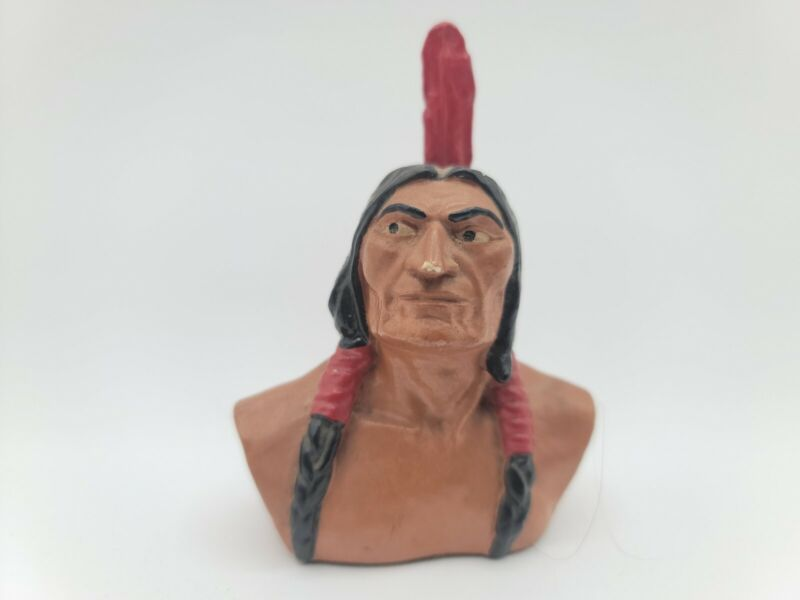 ANTIQUE NATIONAL SHAWMUT BANK NATIVE AMERICAN FIGURAL ADVERTISING  PAPERWEIGHT