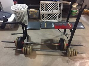 Work out bench and weights