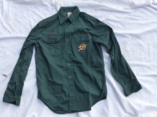 Used Vintage Official Boy Scouts of America BSA Green Explorer Uniform Shirt