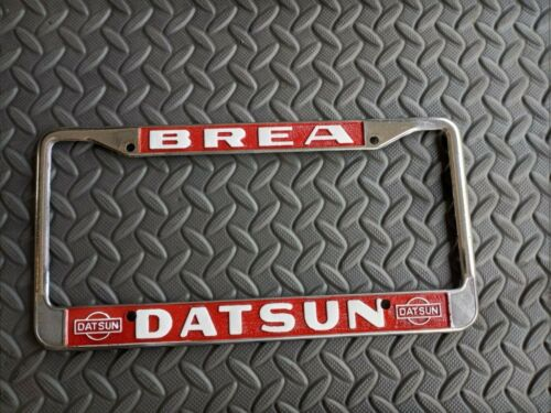 "Vintage Old Classic Datsun License Plate Frame METAL "" BREA DATSUN "" REPAINTED"