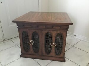 Farm house style wood end table with storage