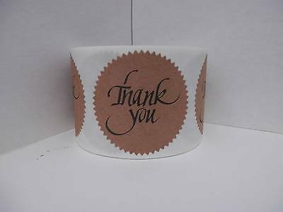 36 cut/fold sticker labels, THANK YOU,  large 2 1/2