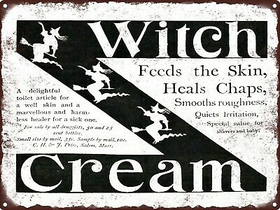 Salem Ma Halloween (1893 WITCH CREAM C.H. & J. Price Salem Ma. Halloween Ad Metal Sign 9x12