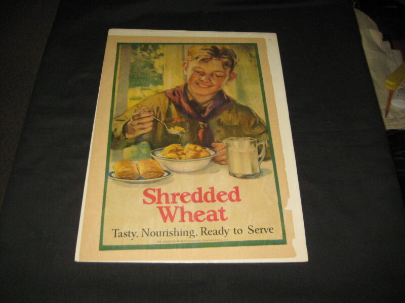 Boy Scout Shredded Wheat Advertisement, matted, 1910-20s  ptr