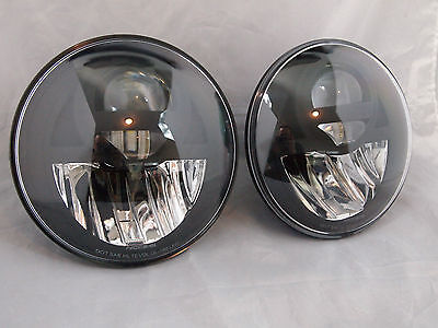 "Universal 7"" Round LED Headlights BI-LED DOT STREET LEGAL SET H4 H6024 PAR56 E4"
